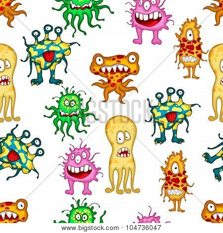 Cartoon colorful monsters and aliens