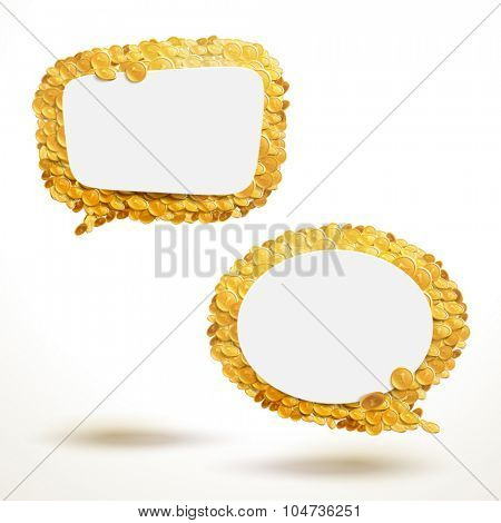 Vector speech bubbles made of giant amount of coins. Empty template ready for your text to be placed.