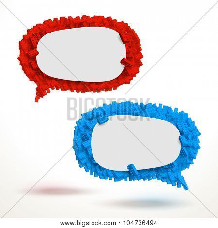 Vector speech bubbles made of big number of blocks. Empty template ready for your text to be placed.