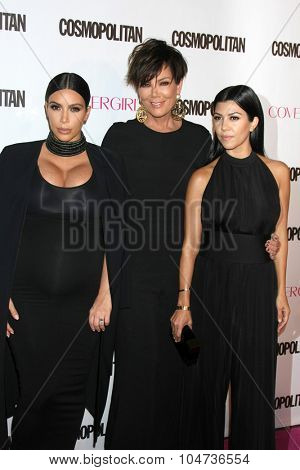 LOS ANGELES - OCT 12:  Kim Kardashian West, Kris Jenner, Kourtney Kardashian at the Cosmopolitan Magazine's 50th Anniversary Party at the Ysabel on October 12, 2015 in Los Angeles, CA