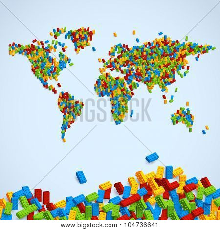 Vector world map made of big number of colorful bricks. Creative illustration.