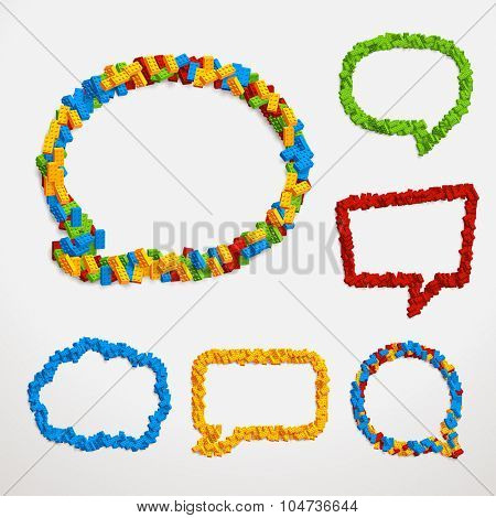 Set of vector talk bubble frames made of blocks. Different colors and shapes ready for your test or design.
