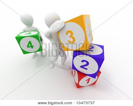 Men With Cubes. Numbers