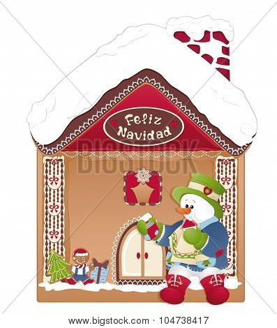 Christmas Card- Snowman, Ginger House And Feliz Navidad