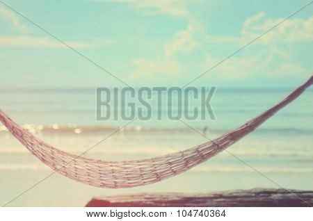 Blurred Hammock On Beach Abstract Background.