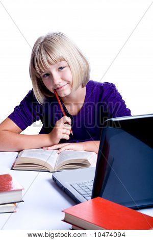 Girl Making Homework