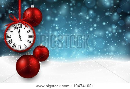 New year  background with red christmas balls and vintage clock. Vector illustration with place for text.