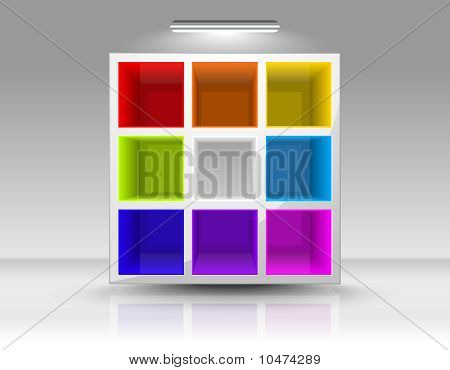 Empty Colored Shelves