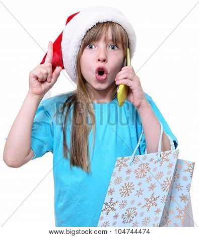 Happy Christmas Girl Hold Big Shopping Bags.