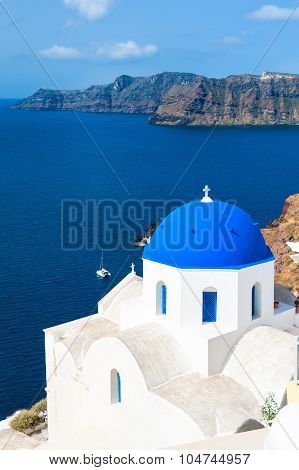Church With Blue Domes In Oia Town, Santorini Island, Greece