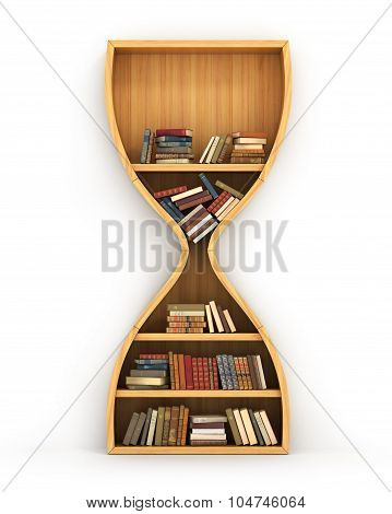 Concept Of Time To Training. Wooden Bookshelf Full Of Book In Form Of Hourglass. Idea Is Based On K