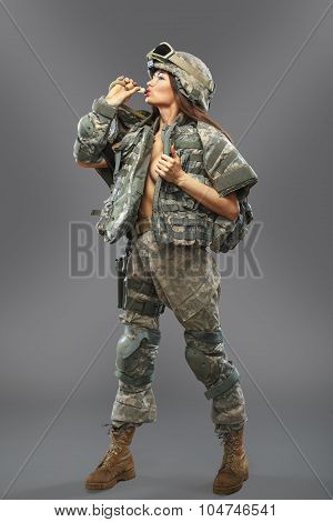 Sexy Girl In The Form Of A Soldier Of The American Division.