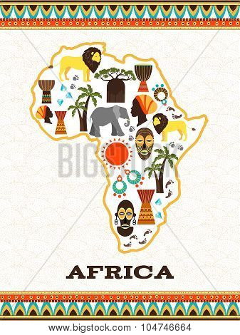 Africa map with african icons