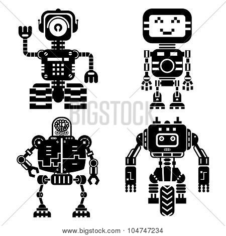 Robot icons vector set. Artificial intelligence elements