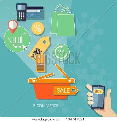 Mobile Shopping E-commerce Concept Internet Shopping 24 Hours Store Human Hand Smart Phone Flat set