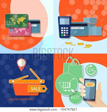 Internet Shopping Credit Cards Shopping Mobile Payments Concept E-commerce On-line Store Shopping