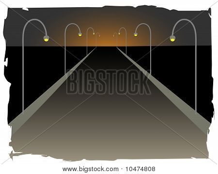 Long Endless Highway Accented By Street Lamps Rising Setting Sun