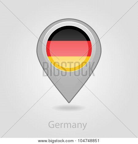 Germany flag pin map icon, vector illustration