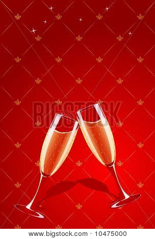 Vector Champagne Glasses Splashing