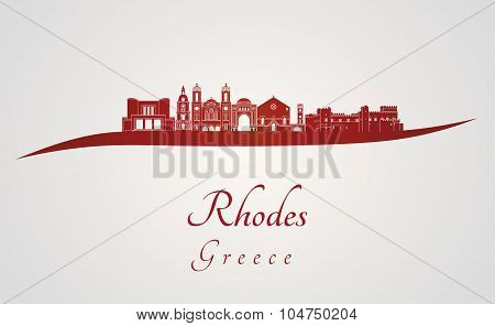 Rhodes Skyline In Red