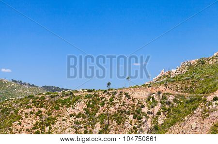 Mountains Under Blue Sky. South Part Of Corsica