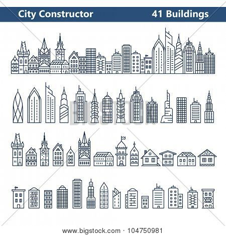 City Constructor. City skyline and 41 buildings. Collection of building icons in liner style