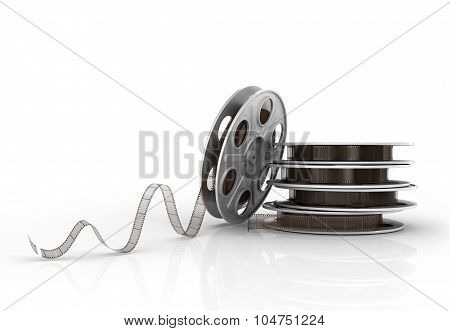 Stack Of Film Reels On A White Background.