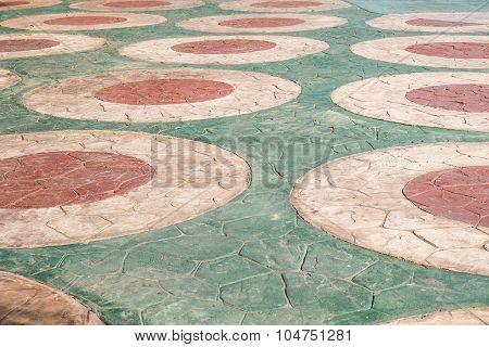 vintage stone floor round pattern