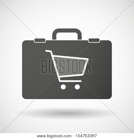Isolated Briefcase Icon With A Shopping Cart