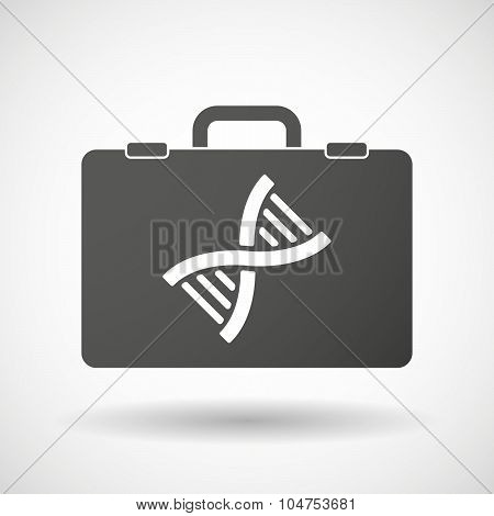Isolated Briefcase Icon With A Dna Sign