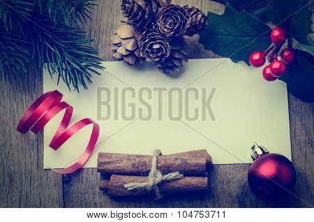 Christmas Message Background Bordered With Decorations - Retro Hues