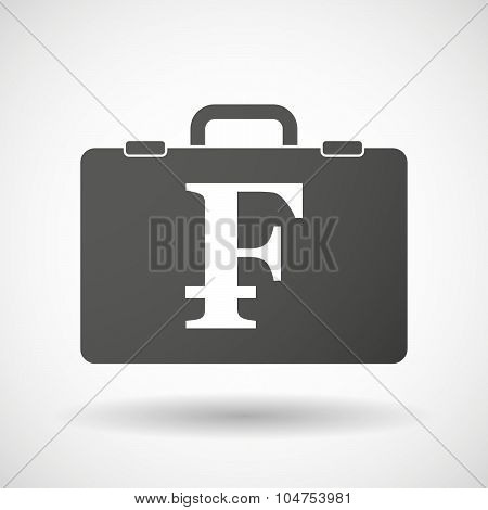 Isolated Briefcase Icon With A Swiss Franc Sign