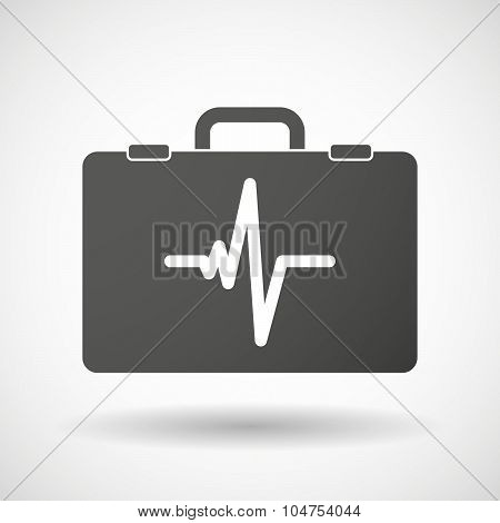 Isolated Briefcase Icon With A Heart Beat Sign