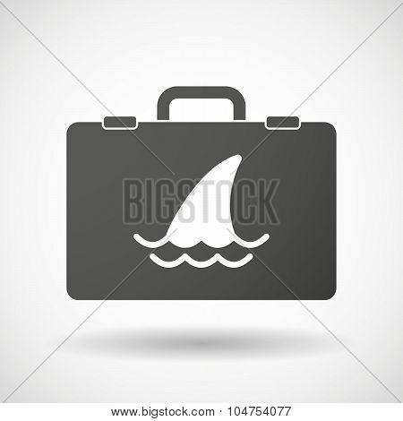 Isolated Briefcase Icon With A Shark Fin