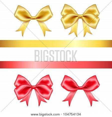 Red and golden silk bows