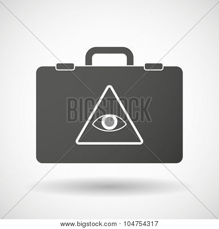 Isolated Briefcase Icon With An All Seeing Eye