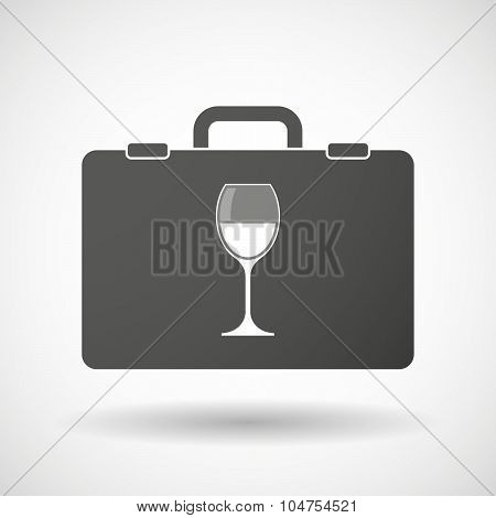 Isolated Briefcase Icon With A Cup Of Wine