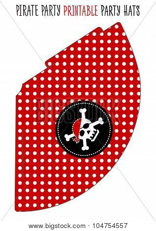 Party hat printable. Pirate theme party