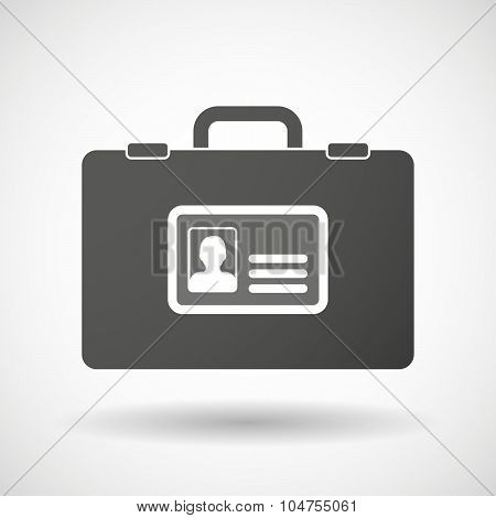 Isolated Briefcase Icon With An Id Card