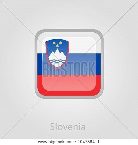 Slovenian flag button, vector illustration