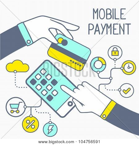 Vector Illustration Of Two Hands With Bank Card And Mobile Phone With Text On Light Background. Blue