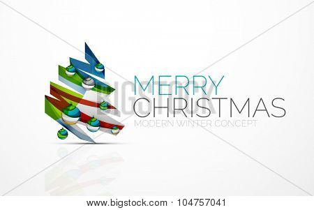 Merry Christmas decorated tree with glossy balls. Modern geometric design concept of the holiday