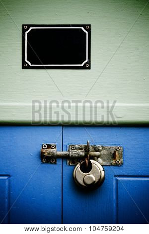 Blank Sign And Padlock