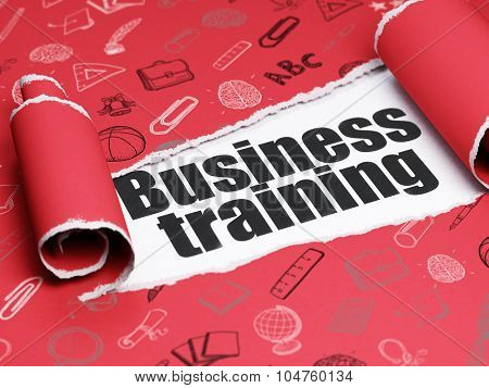 Education concept: black text Business Training under the piece of  torn paper