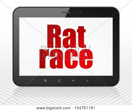 Political concept: Tablet Pc Computer with Rat Race on display