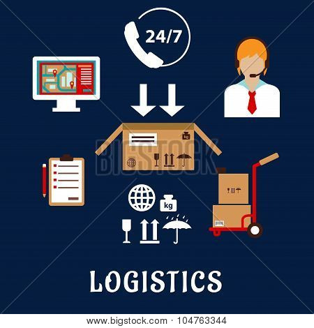 Logistics and delivery flat icons