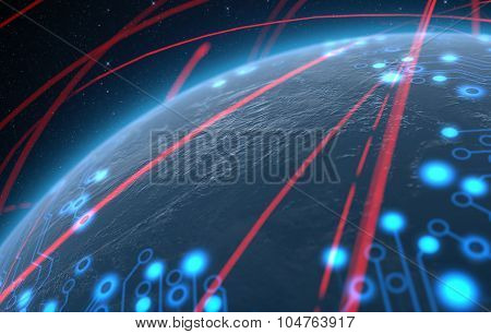 Planet With Illuminated Network And Light Trails