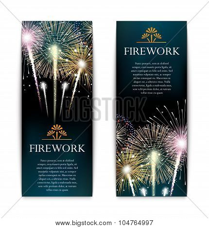 Set of fireworks, festive vertical banner, firecracker vector illustration