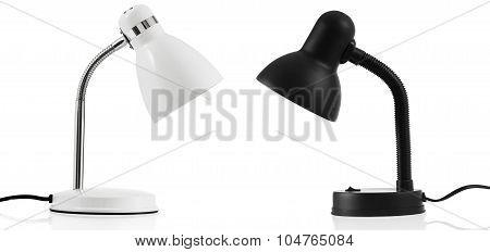 White & Black Desk Lamp Isolated On White