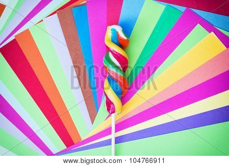 Colorful Twisted Sweet Lollipop With Colored Papers
